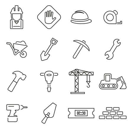 Bouwers site of bouw website pictogrammen dunne lijn vector illustratie set