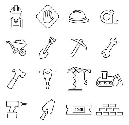 Builders Site or Construction Site Icons Thin Line Vector Illustration Set