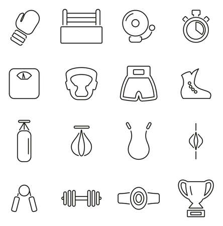 Boxing Sport & Equipment Icons Thin Line Vector Illustration Set Vektorové ilustrace