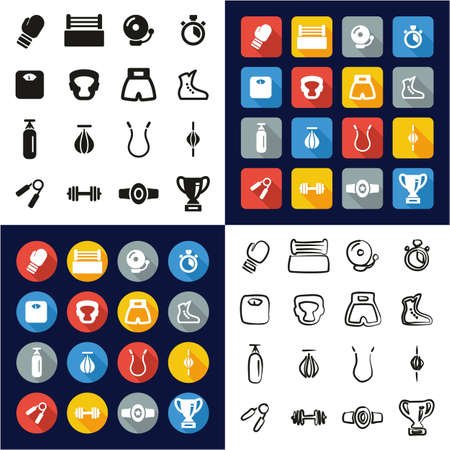 Boxing All in One Icons Black & White Color Flat Design Freehand Set Vektorové ilustrace