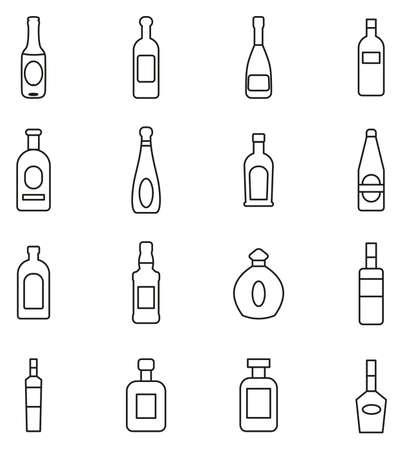 Bottle or Glass Bottle or Liquor Bottle Icons Thin Line Vector Illustration Set. Stockfoto - 94818922