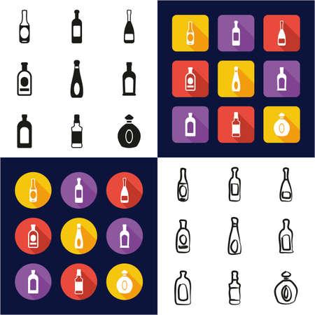 Fles in zwarte en gekleurde illustratie wordt geplaatst die. Stockfoto - 94839456