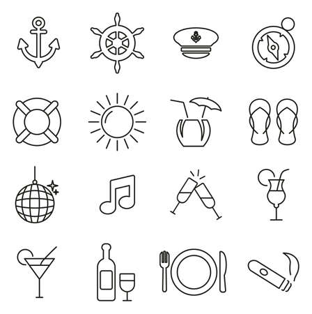 Boat Cruise Icons Thin Line Vector Illustration Set.