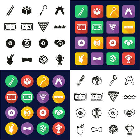 Billiards all in one icons, black and white color. Flat design, freehand set Vettoriali