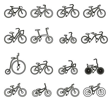 Bicycle or different types of bicycle icons. Thin line vector illustration set. Illustration