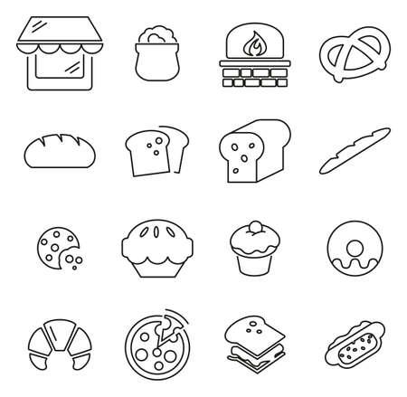 Bakery or Bake house Icons Thin Line Vector Illustration Set Ilustração