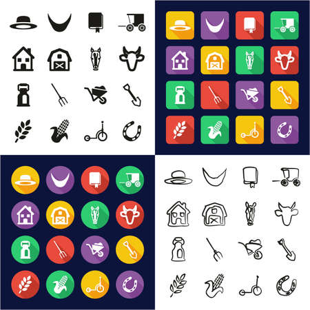 Amish All in One Icons Black & White Color Flat Design Freehand Set