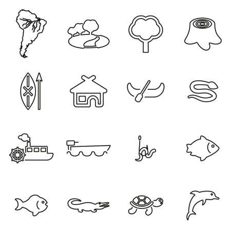 Amazon Rainforest & Wildlife Icons Thin Line Vector Illustration Set