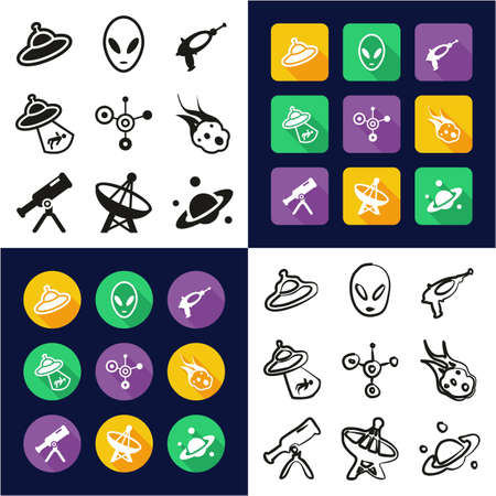 Alien All in One Icons Black & White Color Flat Design Freehand Set Illustration