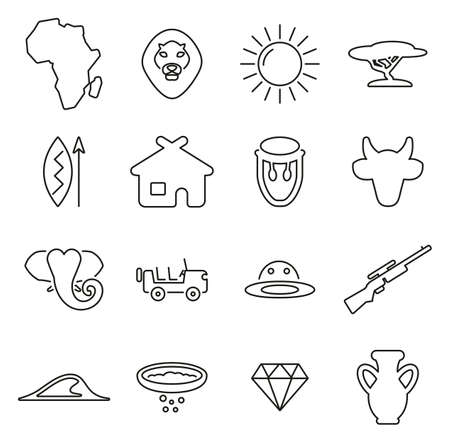 Africa & African Culture Icons Thin Line Vector Illustration Set
