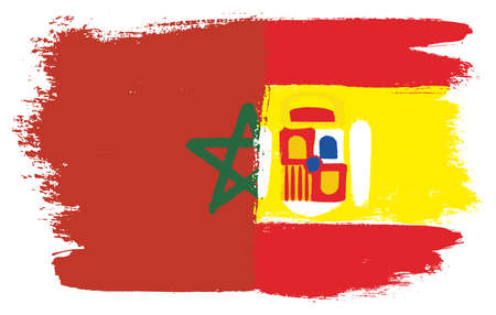 Morocco Flag & Spain Flag Vector Hand Painted with Rounded Brush