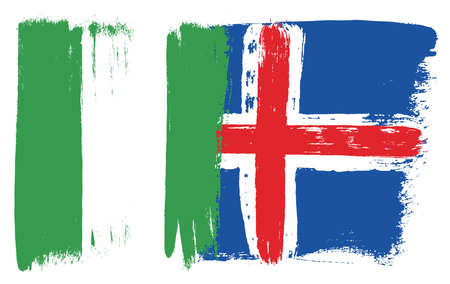 Nigeria Flag & Iceland Flag Vector Hand Painted with Rounded Brush