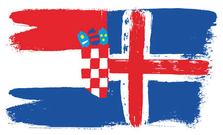Croatia Flag & Iceland Flag Vector Hand Painted with Rounded Brush Illustration