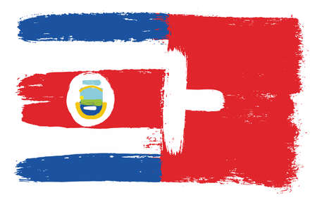 Costa Rica Flag & Switzerland Flag Vector Hand Painted with Rounded Brush Illustration