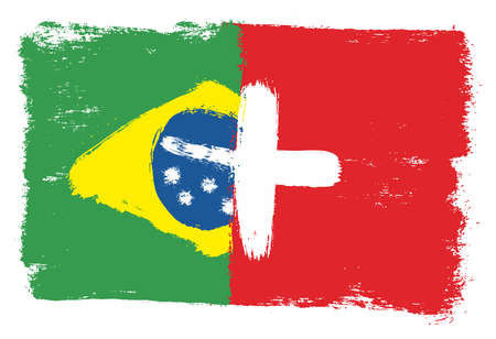 Brazil Flag & Switzerland Flag Vector Hand Painted with Rounded Brush
