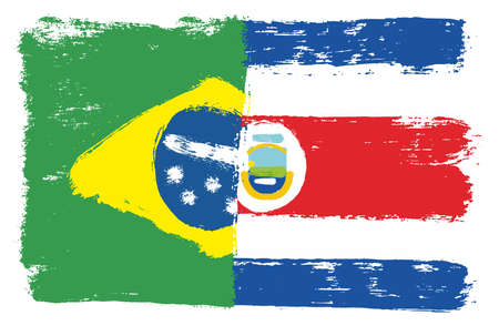 Brazil Flag & Costa Rica Flag Vector Hand Painted with Rounded Brush Illustration