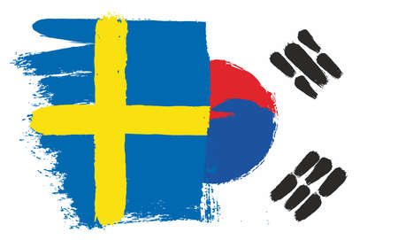 Sweden Flag & Korea Republic Flag Vector Hand Painted with Rounded Brush Illustration