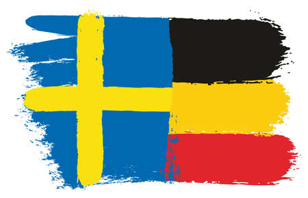 Sweden Flag & Germany Flag Vector Hand Painted with Rounded Brush