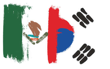 Mexico Flag & Korea Republic Flag Vector Hand Painted with Rounded Brush