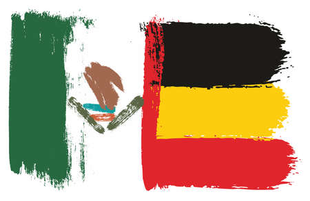 Mexico Flag & Germany Flag Vector Hand Painted with Rounded Brush