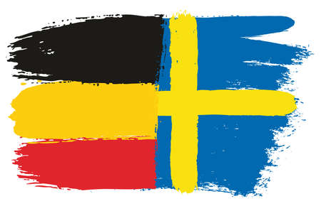 Germany Flag & Sweden Flag Vector Hand Painted with Rounded Brush