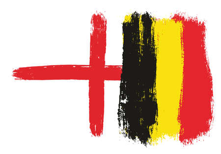 England Flag & Belgium Flag Vector Hand Painted with Rounded Brush