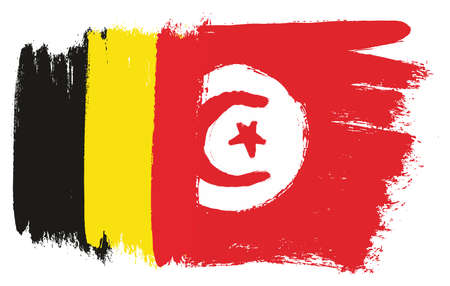Belgium Flag & Tunisia Flag Vector Hand Painted with Rounded Brush
