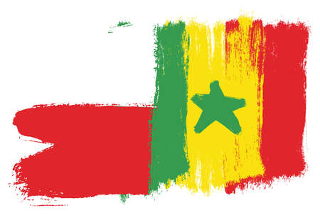 Poland Flag & Senegal Flag Vector Hand Painted with Rounded Brush Illustration
