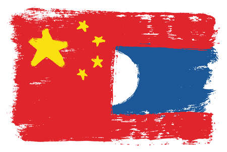 China Flag & Laos Flag Vector Hand Painted with Rounded Brush