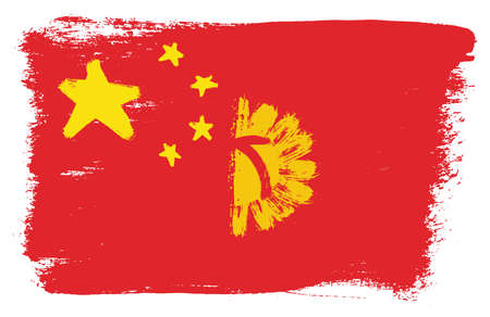 China Flag & Kyrgyzstan Flag Vector Hand Painted with Rounded Brush