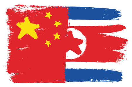 China Flag & North Korea Flag Vector Hand Painted with Rounded Brush Illustration
