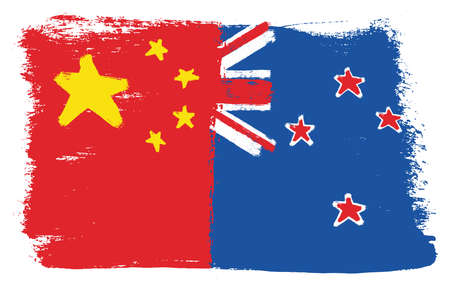 China Flag & New Zealand Flag Vector Hand Painted with Rounded Brush