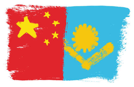 China Flag and  Kazakhstan Flag Vector Hand Painted with Rounded Brush Illustration