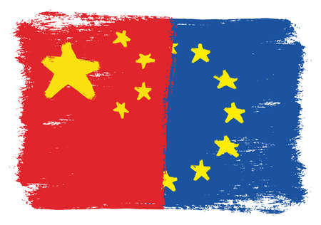 China Flag & European Union Flag Vector Hand Painted with Rounded Brush Illustration