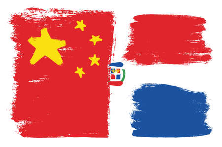 China Flag & Dominican Republic Vector Hand Painted with Rounded Brush Illustration