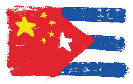 China Flag & Cuba Flag Vector Hand Painted with Rounded Brush