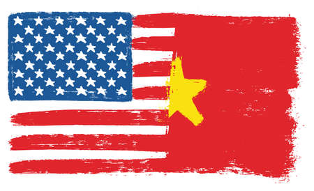 United States of America Flag & Vietnam Flag Vector Hand Painted with Rounded Brush Illustration