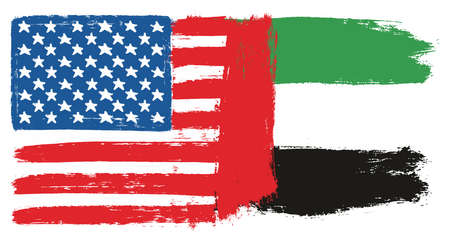 United States of America Flag & United Arab Emirates Flag Vector Hand Painted with Rounded Brush