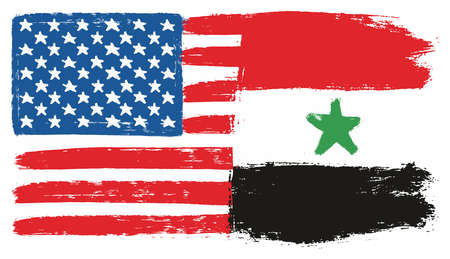 United States of America Flag & Syria Flag Vector Hand Painted with Rounded Brush