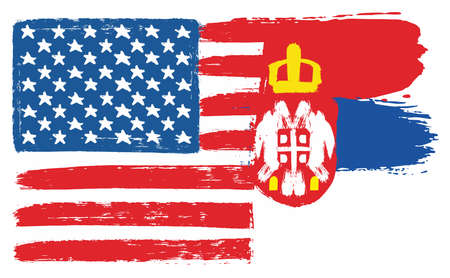 United States of America Flag & Serbia Flag Vector Hand Painted with Rounded Brush