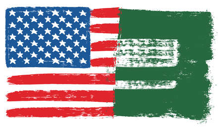 United States of America Flag & Saudi Arabia Flag Vector Hand Painted with Rounded Brush