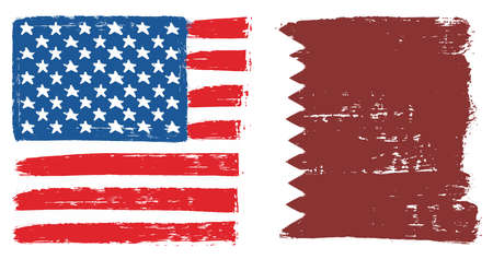 United States of America Flag & Qatar Flag Vector Hand Painted with Rounded Brush