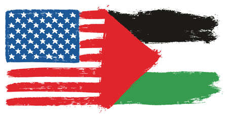 United States of America Flag and Palestine Flag Vector Hand Painted with Rounded Brush