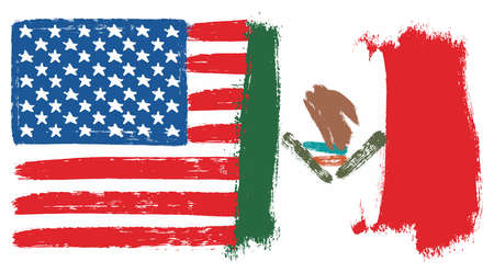 United States of America Flag & Mexico Flag Vector Hand Painted with Rounded Brush