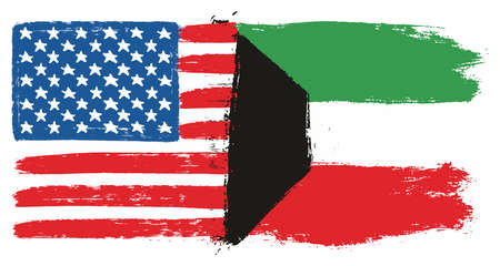 United States of America Flag & Kuwait Flag Vector Hand Painted with Rounded Brush