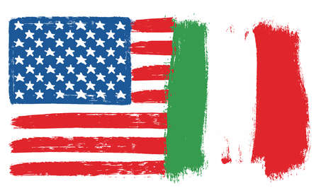 United States of America Flag & Italy Flag Vector Hand Painted with Rounded Brush