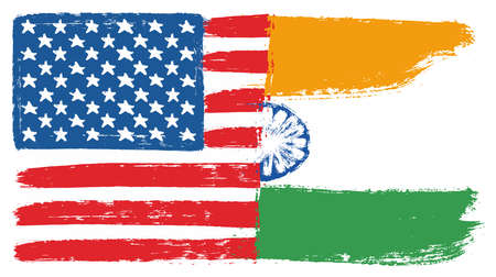 United States of America Flag & India Flag Vector Hand Painted with Rounded Brush Illustration