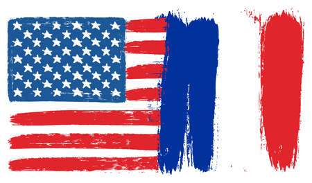 United States of America Flag & France Flag Vector Hand Painted with Rounded Brush