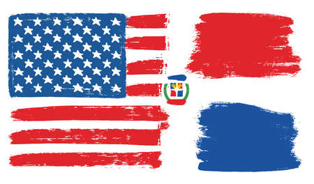 United States of America flag and Dominican Republic flag vector hand painted with rounded brush.