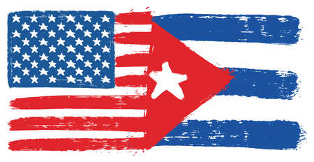 United States of America Flag & Cuba Flag Vector Hand Painted with Rounded Brush Illustration